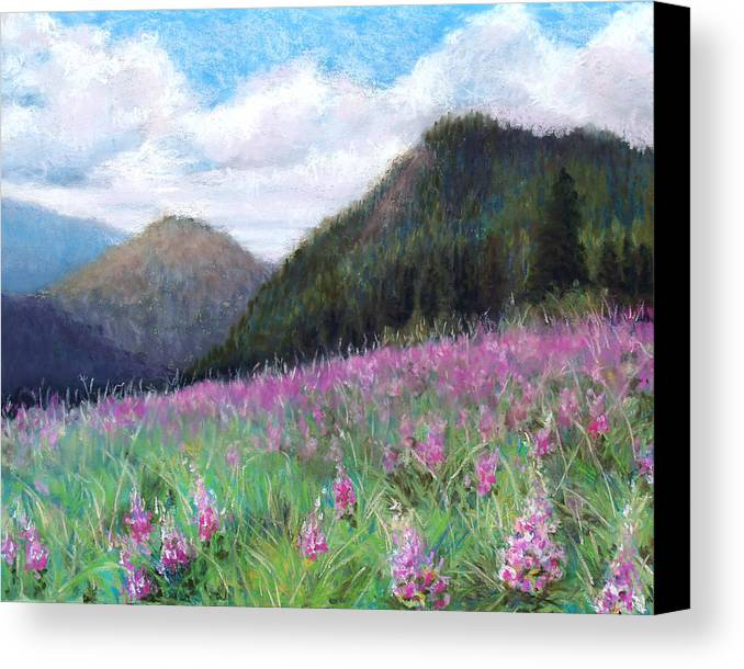 Landscape Canvas Print featuring the pastel Mountain Meadow by Susan Jenkins