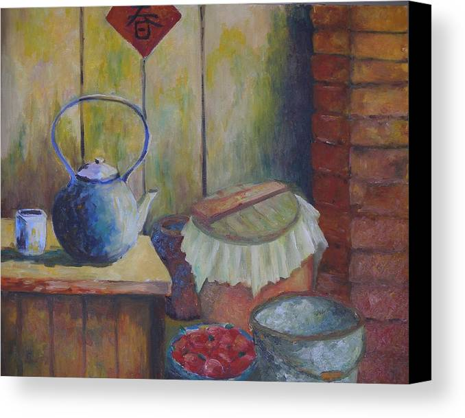 Still Life Canvas Print featuring the painting My Grandma's Kitchen by Wendy Chua