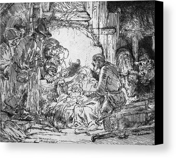 Adoration Of The Shepherds; Shepherd; Infant Jesus Christ; Baby; Child; Joseph; Virgin Mary; Madonna; Holy Family; Stable; Manger; Ox; Oxen; Straw Canvas Print featuring the drawing Nativity by Rembrandt