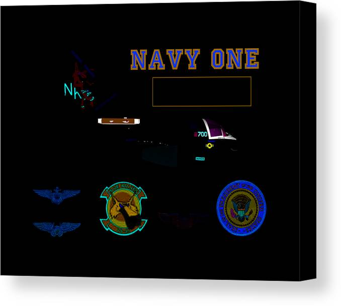 Aviation Canvas Print featuring the digital art Navy One by Mike Ray