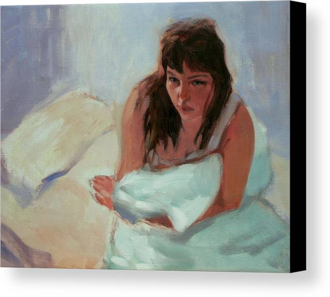 Portrait Canvas Print featuring the painting Nicole In The Morning by Merle Keller