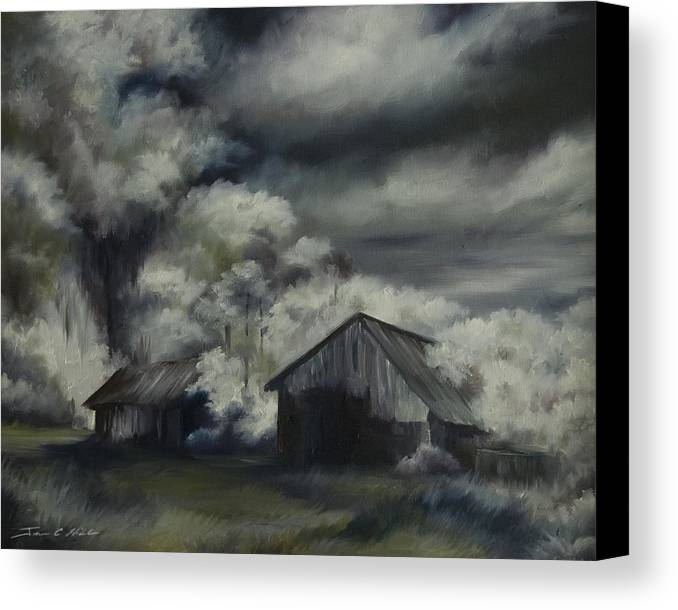 Motel; Route 66; Desert; Abandoned; Delapidated; Lost; Highway; Route 66; Road; Vacancy; Run-down; Building; Old Signage; Nastalgia; Vintage; James Christopher Hill; Jameshillgallery.com; Foliage; Sky; Realism; Oils; Barn Canvas Print featuring the painting Night Barn by James Christopher Hill