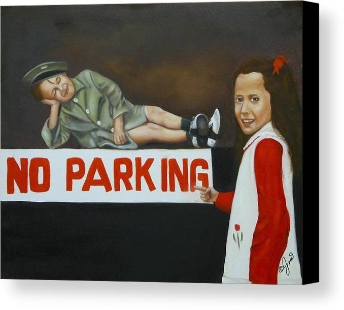 Child Canvas Print featuring the painting No Parking by Joni McPherson
