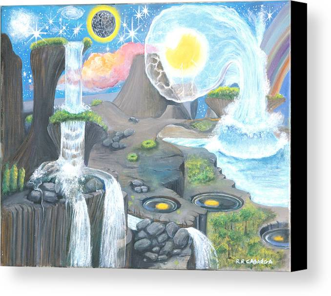 Landscape Canvas Print featuring the painting Nocturnal Biohydroloft by Rr Cabarga