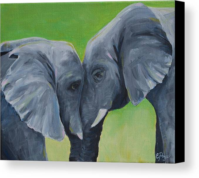 Elephant Canvas Print featuring the painting Nose To Nose In Green by Emily Page
