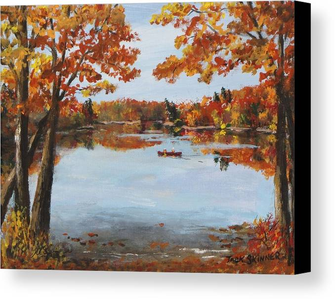Walden Pond Canvas Print featuring the painting October Morn At Walden Pond by Jack Skinner