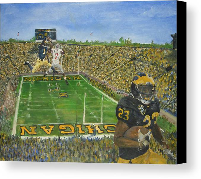 Michigan Canvas Print featuring the painting Ohio State Vs. Michigan 100th Game by Travis Day