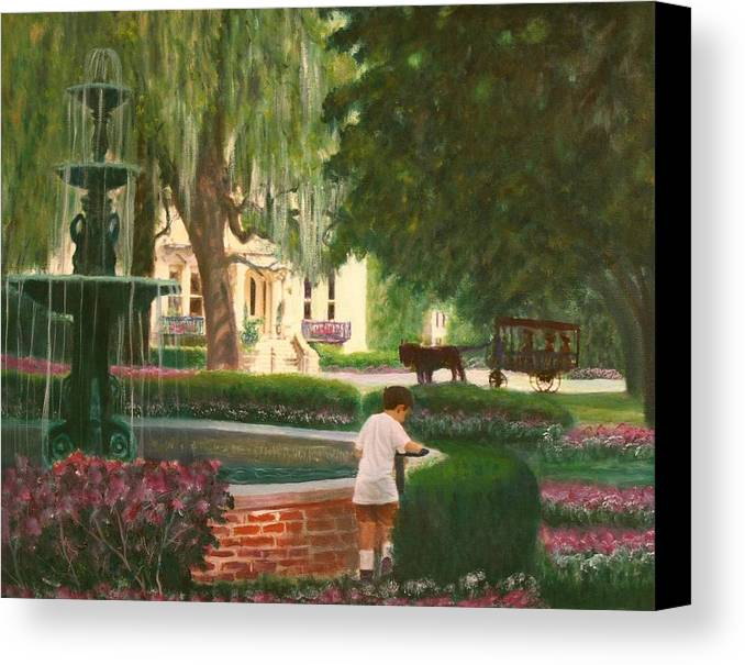 Savannah; Fountain; Child; House Canvas Print featuring the painting Old And Young Of Savannah by Ben Kiger