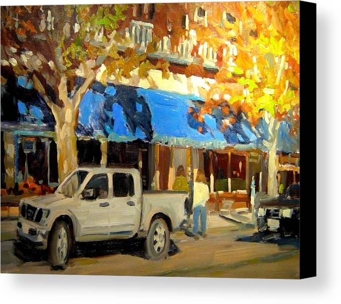 Citscape Paintings Canvas Print featuring the painting On Government Street by Brian Simons
