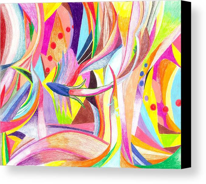 Abstract Canvas Print featuring the drawing Optimism by Peter Shor