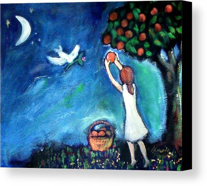 Nature Canvas Print featuring the painting Oranges Song by Winsome Gunning