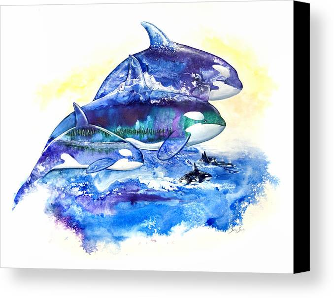Orca Canvas Print featuring the painting Orca Fantasy by Sherry Shipley
