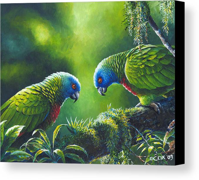 Chris Cox Canvas Print featuring the painting Out On A Limb - St. Lucia Parrots by Christopher Cox