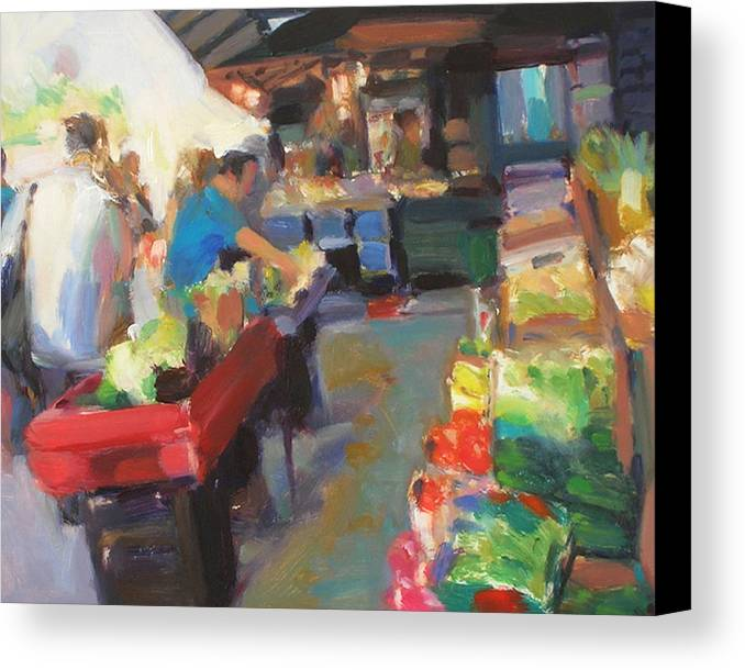 Outdoor Market Canvas Print featuring the painting Outdoor Market by Merle Keller