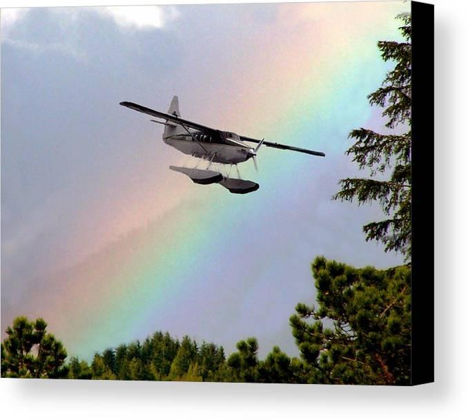 Rainbow Canvas Print featuring the digital art Over The Rainbow by Kenna Westerman
