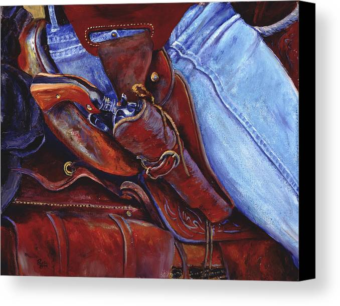 Pistol Canvas Print featuring the painting Packin by Page Holland