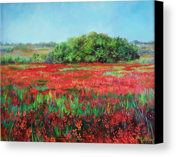 Landscape Canvas Print featuring the painting Painting Of Indian Paintbrush In Oklahoma by Cheri Wollenberg