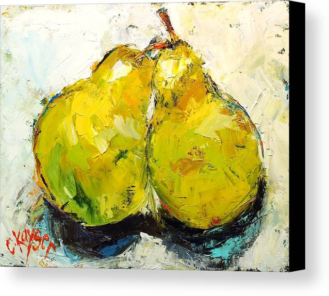 Fruit Canvas Print featuring the painting Pair Of Pears by Claire Kayser