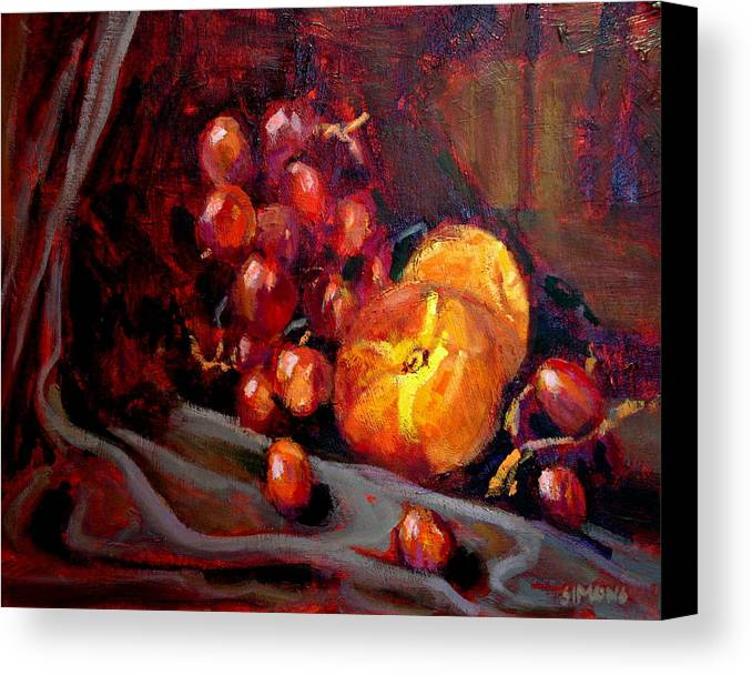 Fruit Canvas Print featuring the painting Peaches And Grapes by Brian Simons