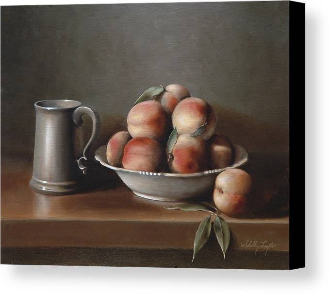 Still Life Canvas Print featuring the painting Peaches And Pewter by Shelley Thayer Layton