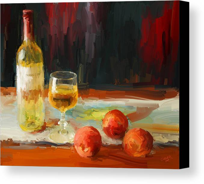 Fruit Canvas Print featuring the digital art Peaches With Morning Light by Larry Cobler