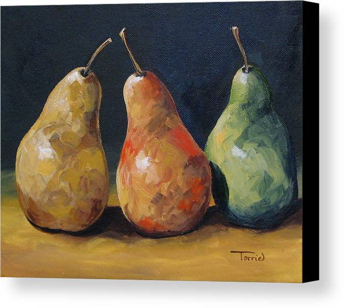 Pear Canvas Print featuring the painting Pear Trio by Torrie Smiley