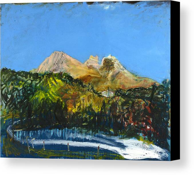 Landscape Mountains Road Blue Sky Trees Cyprus Canvas Print featuring the painting Pendaktylos by Joan De Bot
