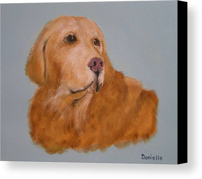 Golden Retriever Canvas Print featuring the painting Penny by Donielle Boal