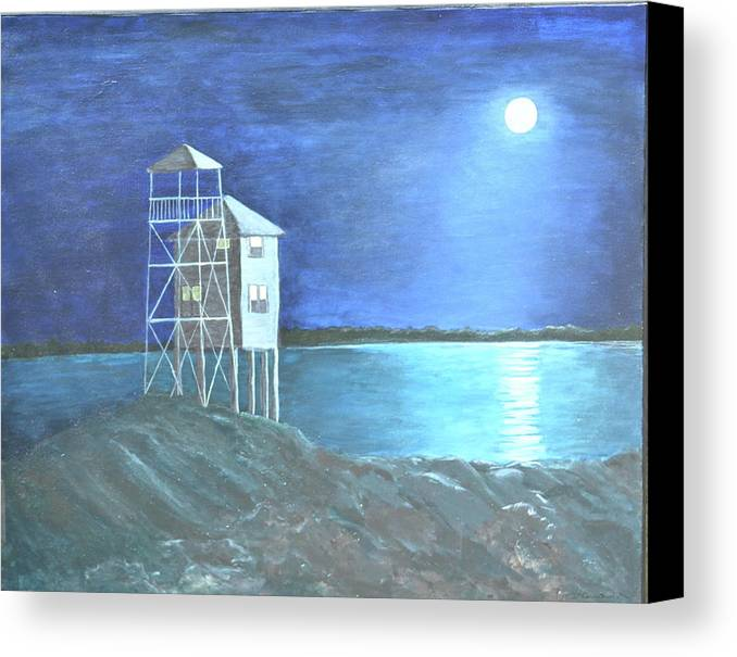 Night Scene Canvas Print featuring the painting Pilot House by Sheryl Sutherland