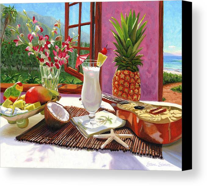 Pina Colada Canvas Print featuring the painting Pina Colada by Steve Simon