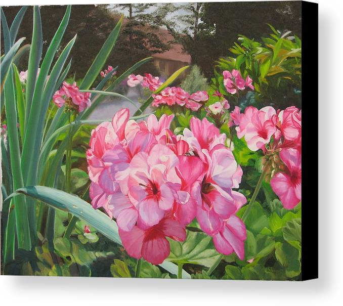 Pink Geraniums Canvas Print featuring the painting Pink Geraniums by Lea Novak