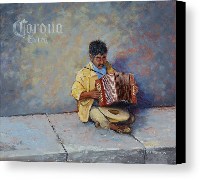 Mexico Canvas Print featuring the painting Playing For Pesos by Jerry McElroy