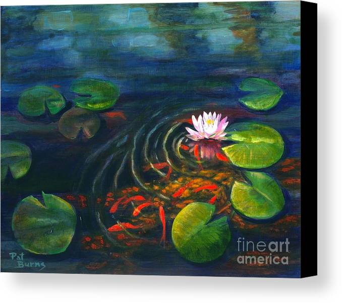 Waterscape Canvas Print featuring the painting Pond Jewels by Pat Burns