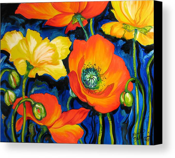 Poppy Canvas Print featuring the painting Poppies by Marcia Baldwin