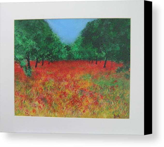 Poppy Canvas Print featuring the painting Poppy Field In Ibiza by Lizzy Forrester