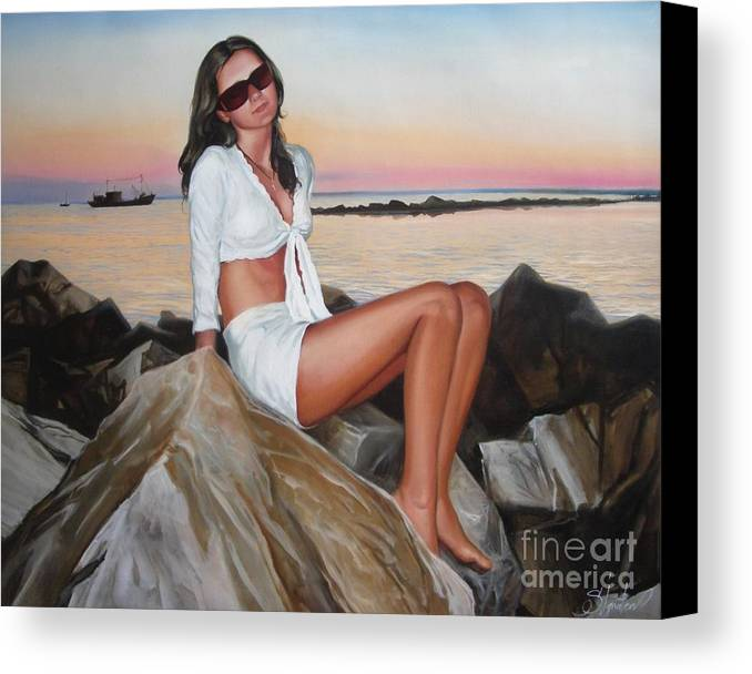 Art Canvas Print featuring the painting Portrait by Sergey Ignatenko