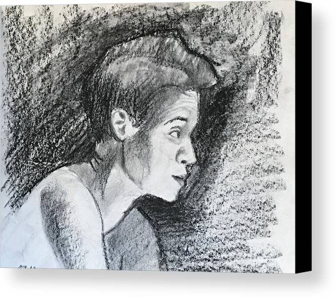Canvas Print featuring the drawing Profile Of A Black Woman by Alejandro Lopez-Tasso