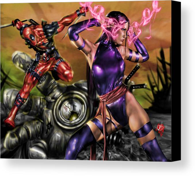 Marvel Canvas Print featuring the painting Psylocke And Deadpool by Pete Tapang