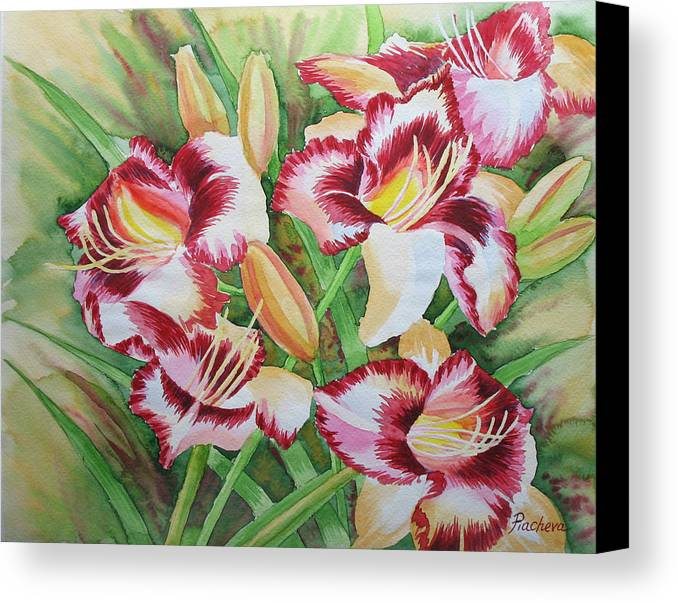 Watercolor Canvas Print featuring the painting Purple Lilies.2007 by Natalia Piacheva