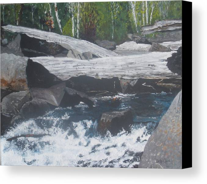 Landscape Canvas Print featuring the painting Ragged Falls by Betty-Anne McDonald