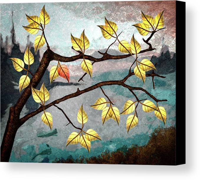 Digital Art Canvas Print featuring the digital art Red Leaf by Ken Taylor