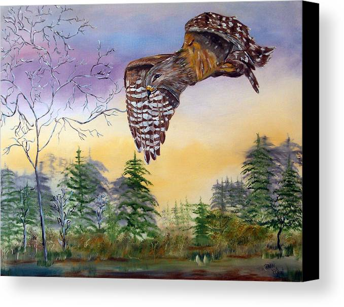 Hawk Canvas Print featuring the painting Red Shouldered Hawk by Mikki Alhart