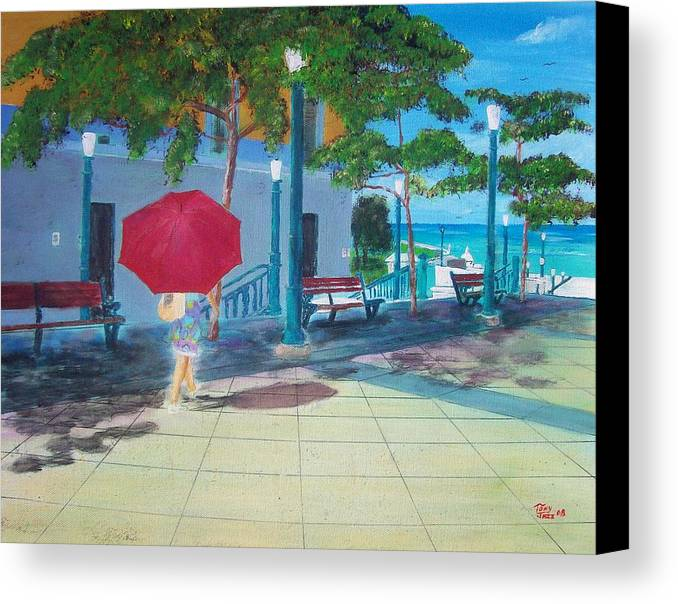 Landscapes Canvas Print featuring the painting Red Umbrella In San Juan by Tony Rodriguez