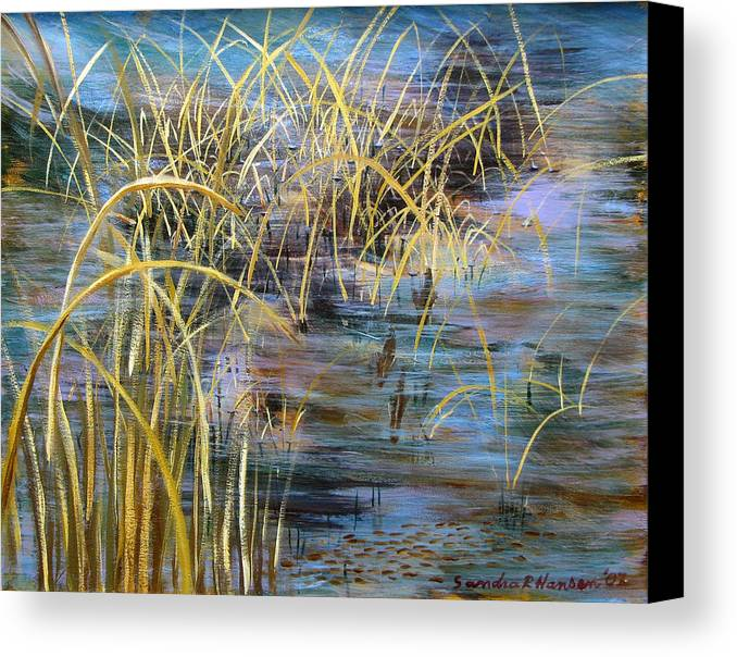 Reeds Canvas Print featuring the painting Reeds In The Water by Art Nomad Sandra Hansen