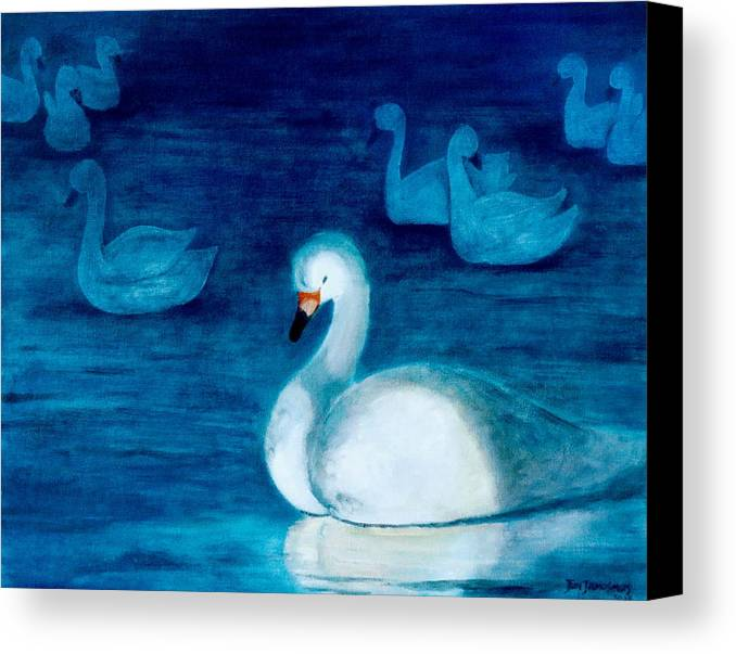 Duck Canvas Print featuring the painting Reflections 1 by Jun Jamosmos