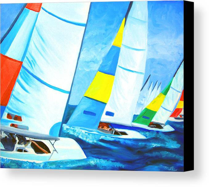 Sailing Canvas Print featuring the painting Regatta by Michael Lee