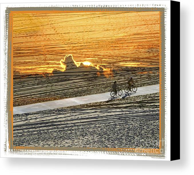 Beach Canvas Print featuring the digital art Riding Off Into The Sunset by Chuck Brittenham