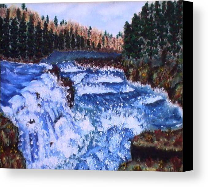 Pine Trees Canvas Print featuring the painting River Falls by Tanna Lee M Wells