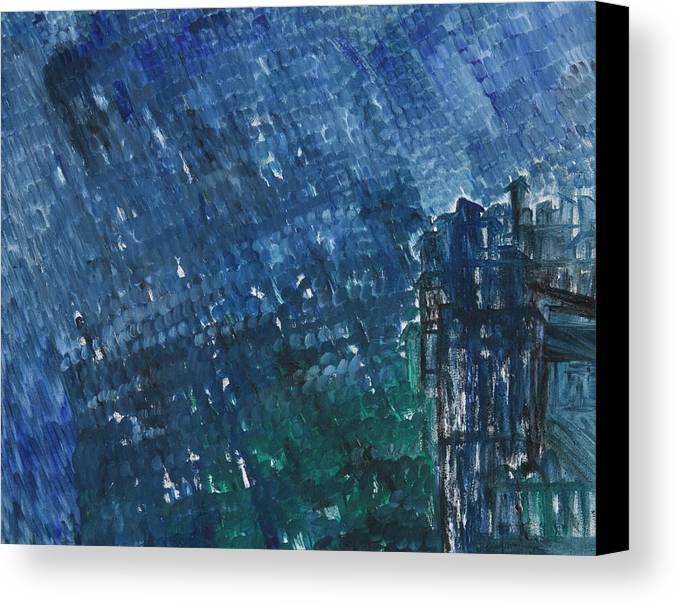 Canvas Print featuring the painting River Water Rains by Prakash Bal Joshi
