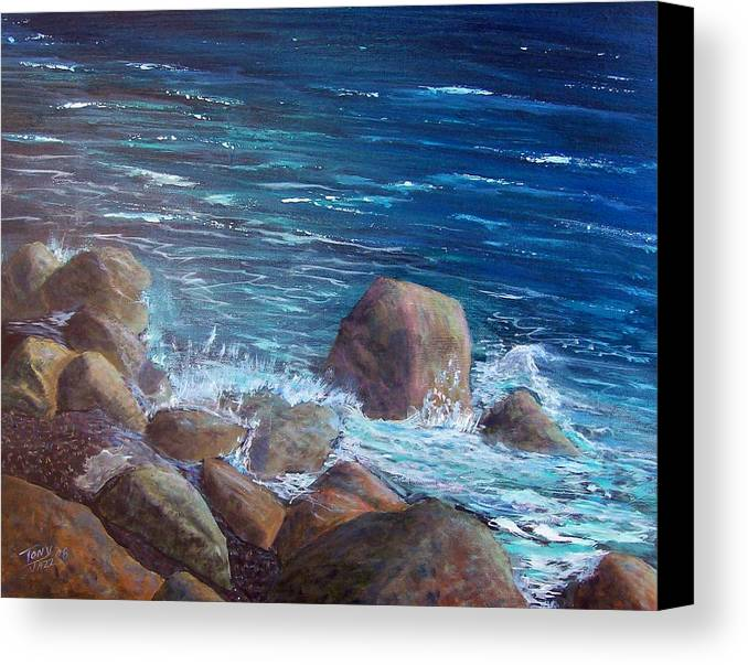 Seascape Canvas Print featuring the painting Rocks And Rolls by Tony Rodriguez